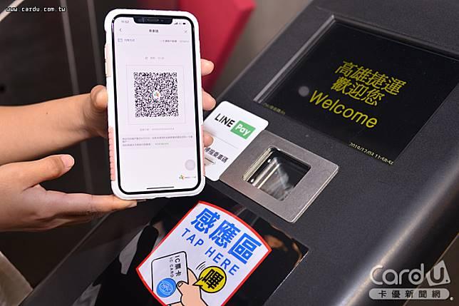 以LINE Pay Money乘車碼免費搭乘淡海輕軌,搭高雄捷運贈送20%的LINE POINTS點(圖/卡優新聞網)