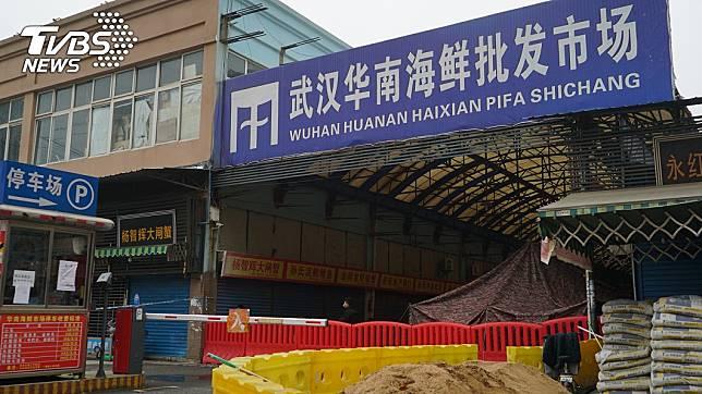 武漢華南批發海鮮市場。(圖/達志影像美聯社)